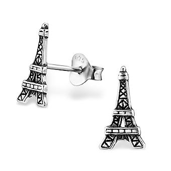 Eiffel Tower - 925 Sterling Silver Plain Ear Studs - W29367x