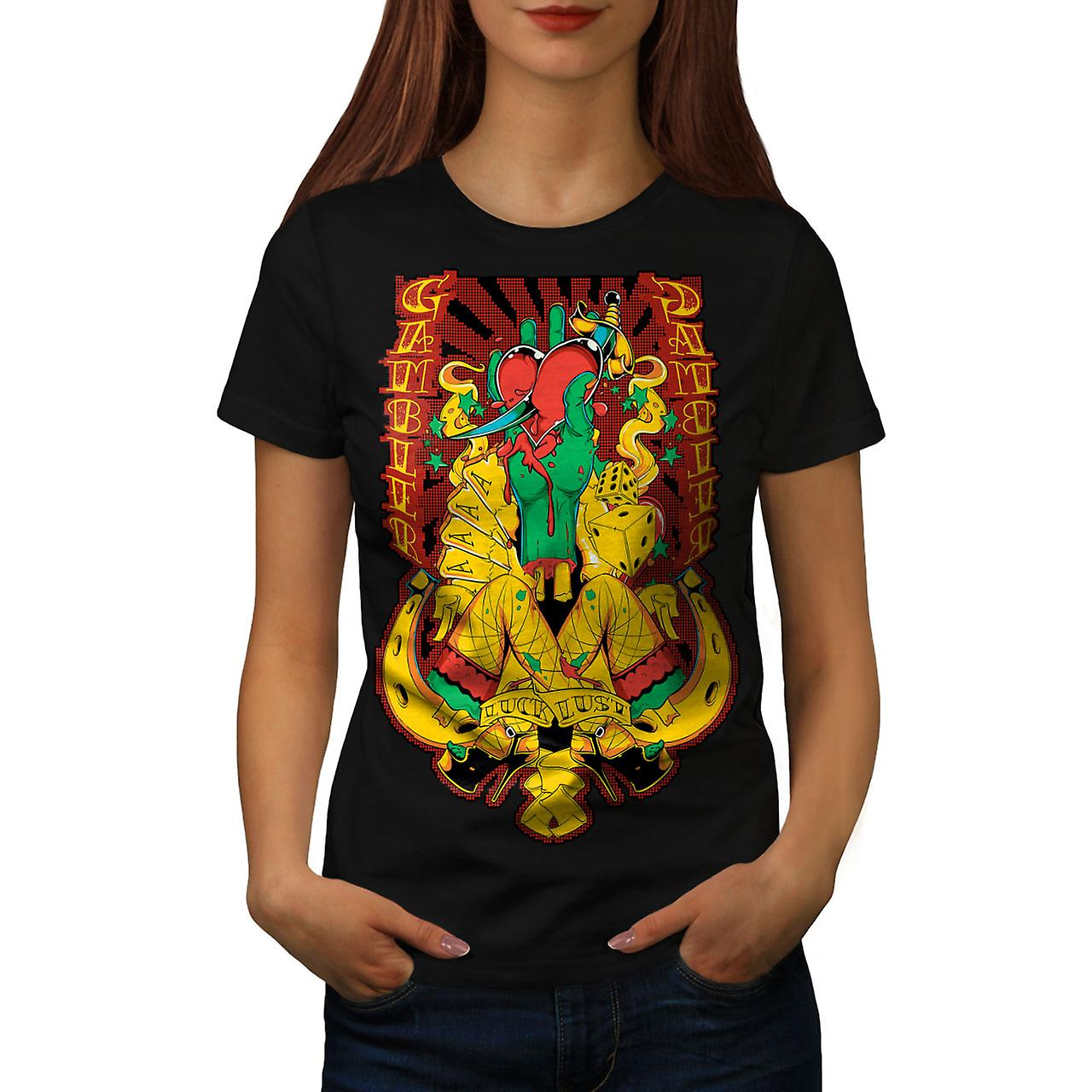 Gamble Heart Sexy Casino Women Black T-shirt | Wellcoda