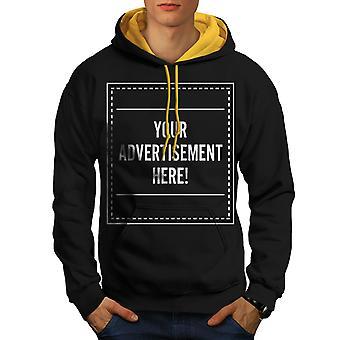 Publicité ici drôles hommes noir (capot or) contraste Hoodie | Wellcoda