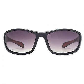 Freedom Polarised Rushmore Sports Wrap Sunglasses In Matte Black Red