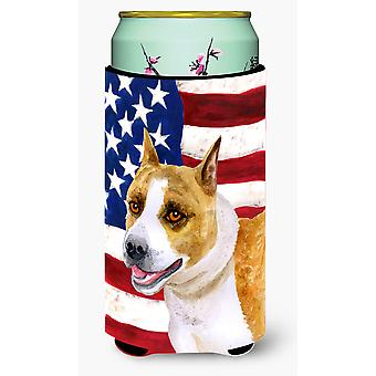 American Staffordshire Patriotic Tall Boy Beverage Insulator Hugger