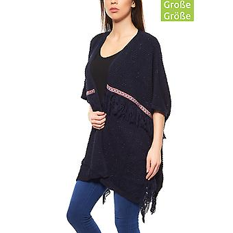B.C.. best connections by heine plus size tunic women's blue poncho with tassels