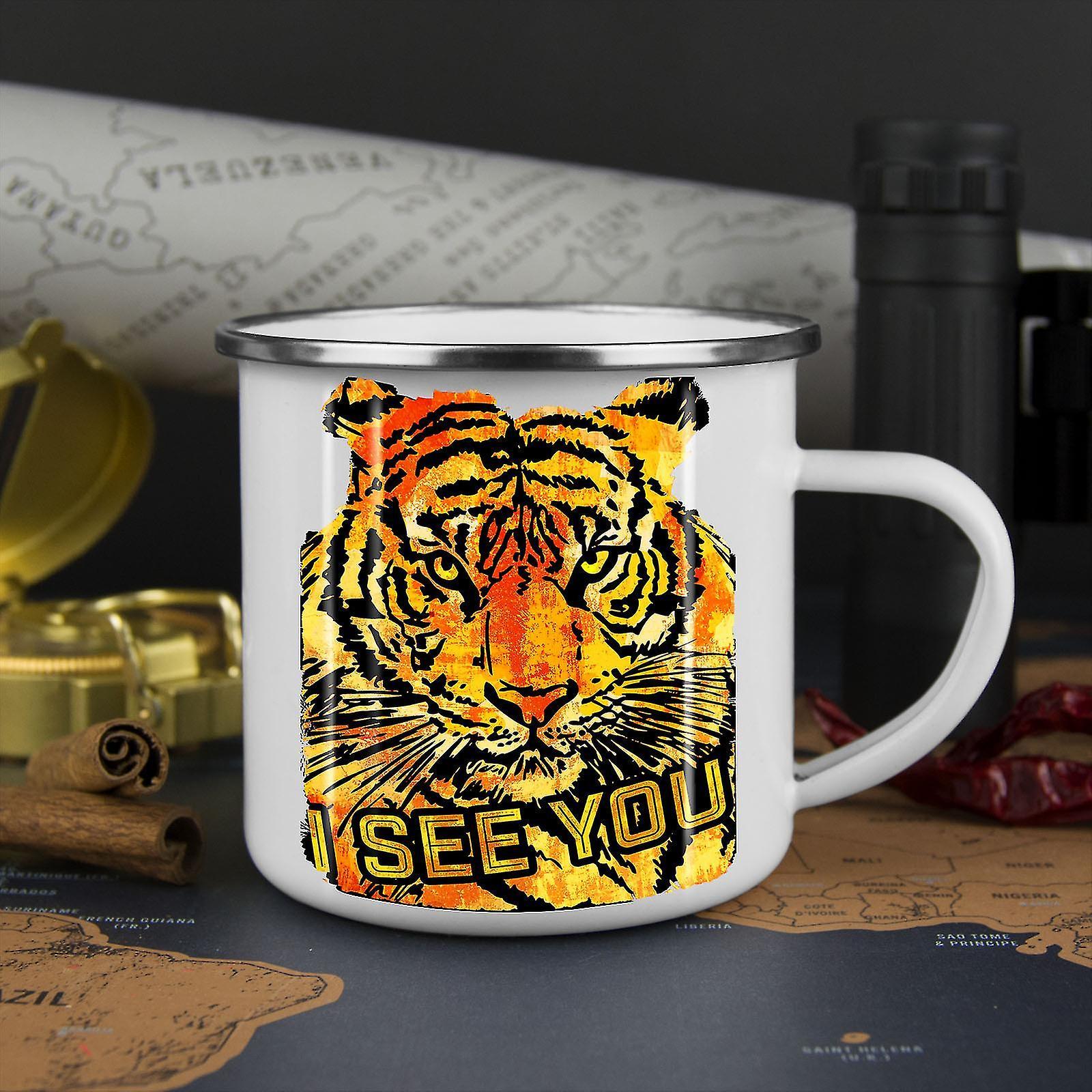 I See You Tiger Animal NEW WhiteTea Coffee Enamel Mug10 oz | Wellcoda