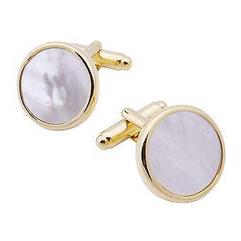 Thin Classic Gold Tone Circular Cufflinks With Mother Of Pearl Stone Wedding Business