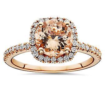 1 1/4 CT Morganite & Diamond Cushion Halo Engagement Ring 14K Rose Gold