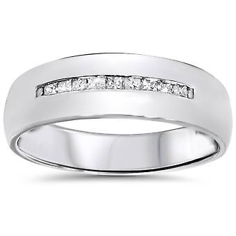Mens 5.5mm 1 / 6ct Princess Cut Diamond trouwring 10K witgoud
