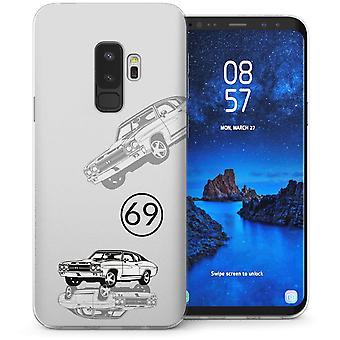 Samsung Galaxy S9 Plus Retro US Sports Car TPU Gel Case – vit