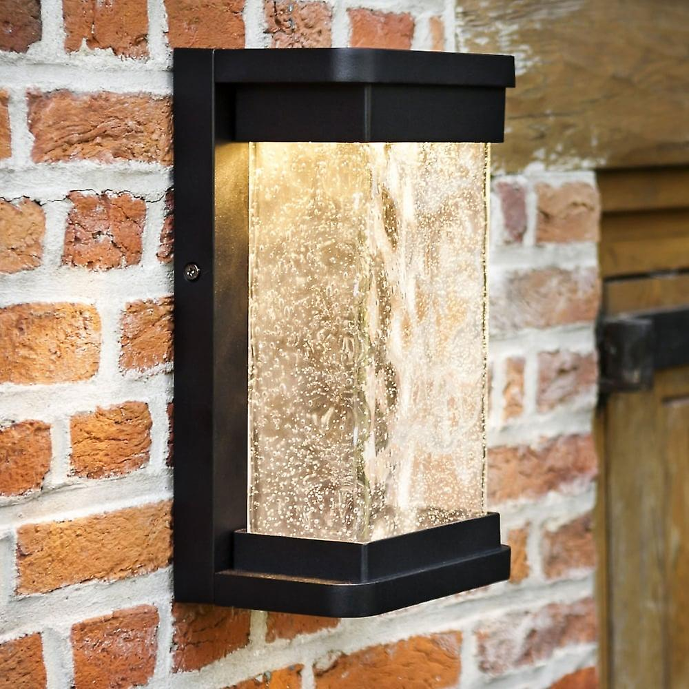 Lutec Starry 16W Lantern Exterior LED Wall Light In Black