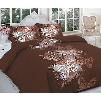 Butterfly 4 Pcs Printed Duvet Cover + Valance Sheet Complete Bedding Set