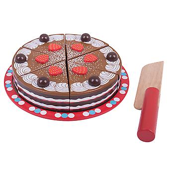 Bigjigs Toys Wooden Play Food Chocolate Cake with Slicer Pretend Play Kitchen