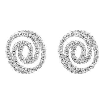 Orphelia Silver 925 Earring Spiral Zirconium  ZO-7274
