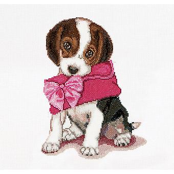 Puppy Love On Aida Counted Cross Stitch Kit-12.25
