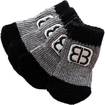 Petego Traction Control Indoor Socks For Dogs 4/Pkg-Xx-Large Black/Gray