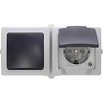Kopp Circuit breaker, Toggle switch, PG socket (+ lid) Nautic Grey 138656001