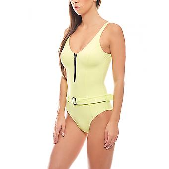 Swimsuit with shaping effect and belt C Cup Kiwi green heine