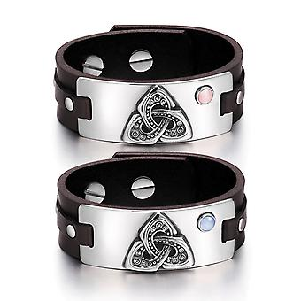 Celtic Triquetra Knot Amulets Love Couples Pink Sky Blue Simulated Cats Eye Brown Leather Bracelets