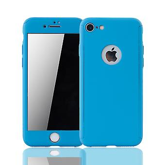 Apple iPhone 7 mobile case protection case full-cover protection glass light blue tank