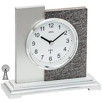 5150 table clock radio silver modern AMS in natural stone finish with aluminium support