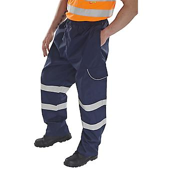 B-Dri Waterproof And Breathable Hi Vis Navy Overtrousers - Bd118