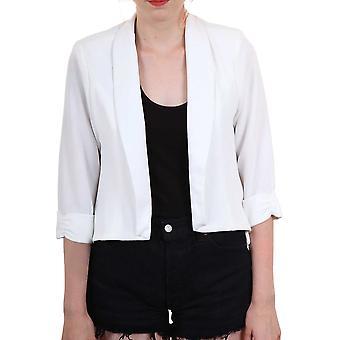 Ladies Crepe 3/4 Turn Up Sleeve High Low Chiffon Back Women's Jacket Blazer