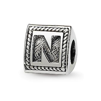 Sterling Silver Polished Antique finish Reflections Letter N Triangle Block Bead Charm