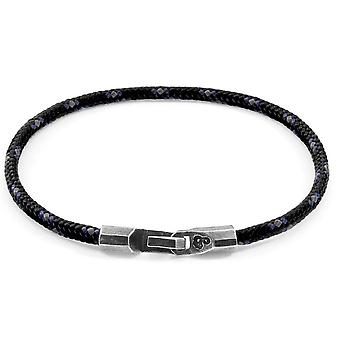 Anchor and Crew Talbot Silver and Rope Bracelet - Black