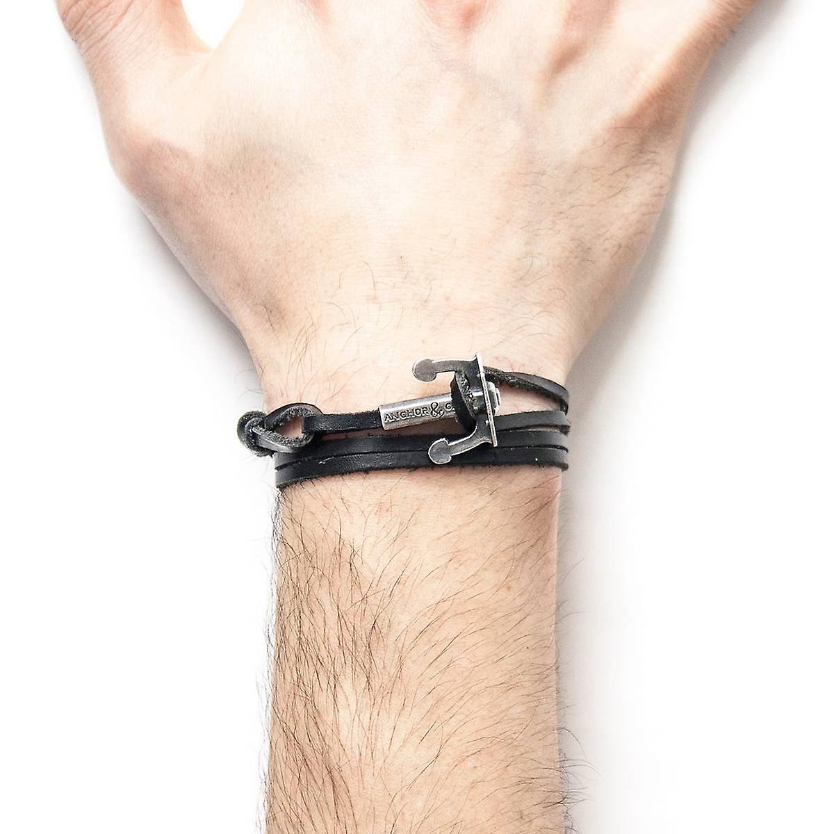 Anchor and Crew Union Silver and Leather Bracelet - Coal Black
