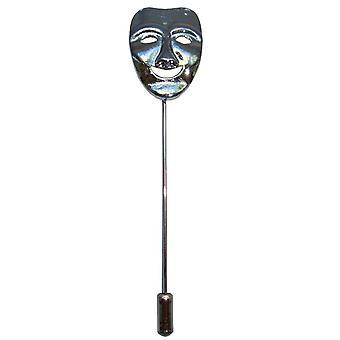 Bassin og brun glade maske revers Pin - sølv