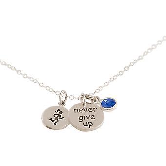 Gemshine Fitness Halskette Runner - Never Give Up - 925 Silber, vergoldet oder rose im Sportschmuck Sport-look Jogging mit blauem Saphir – Made in Spain