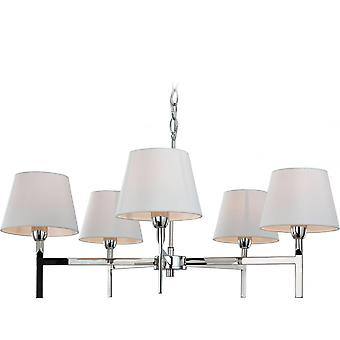Firstlight Transition Polished Stainless Steel Five Light Fitting With Off White Shades