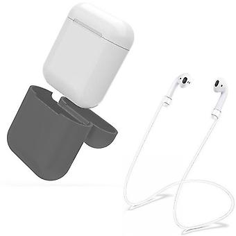 AirPod siliconen beschermhoes + oordopjes bandjes & pols riem Apple GREY