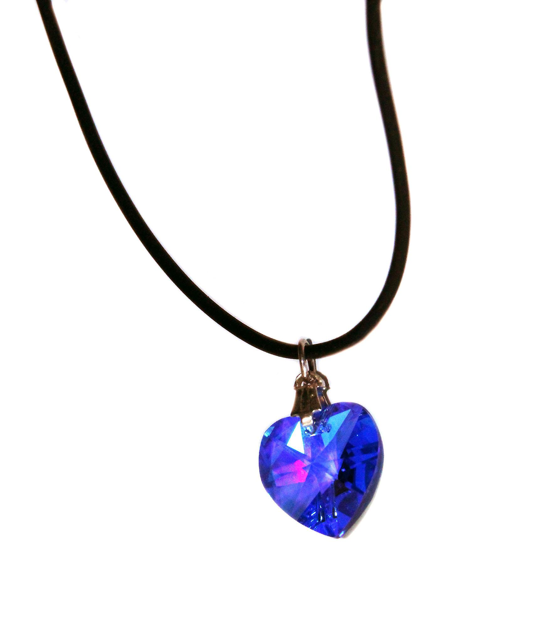 Waooh - Jewelry - Swarovski / blue heart pendant with rubber cord