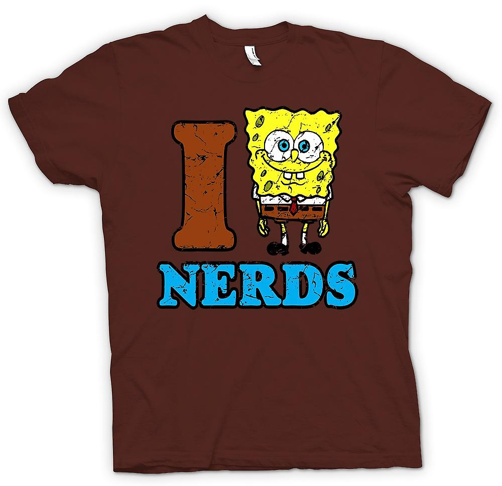 Herr T-shirt - I Love Nerds - Sponge Bob