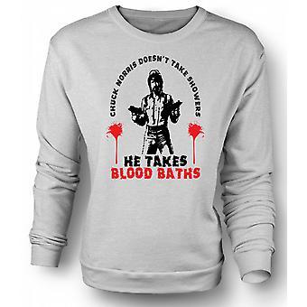 Mens Sweatshirt Chuck Norris Blood Bath - Funny