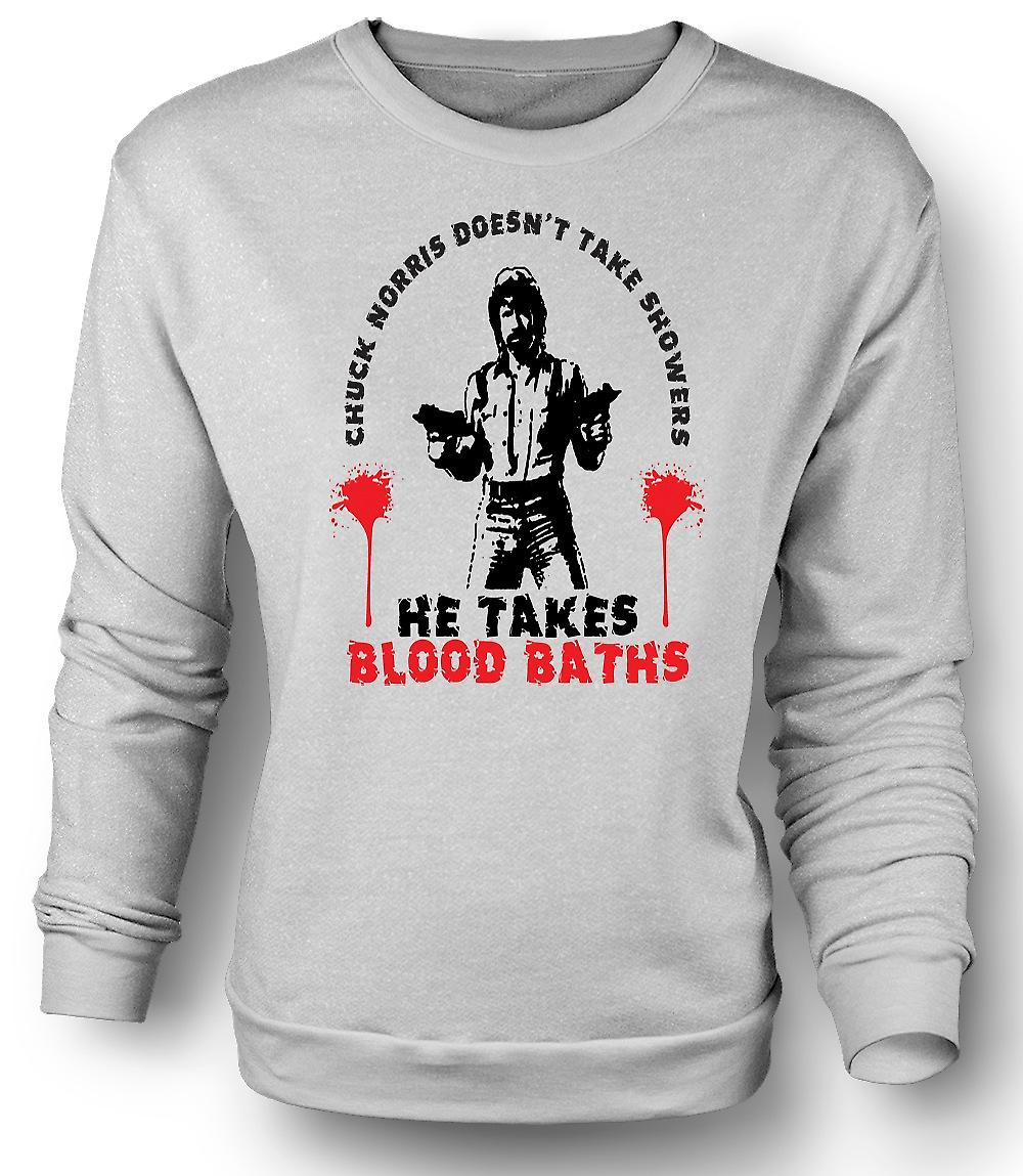 Mens Sweatshirt Chuck Norris Blood Bath - Funny