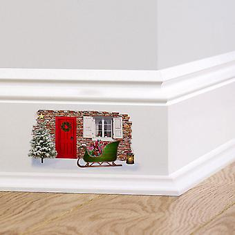 Полный цвет Рождество Фея Эльф двери стикер стены V2