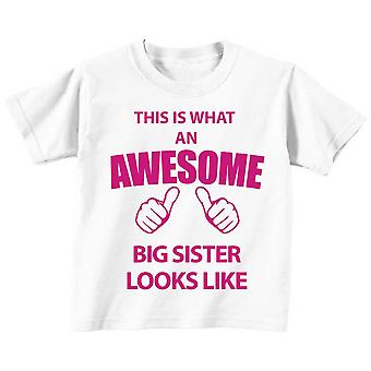This is What An Awesome Big Sister Looks Like White Tshirt Pink Text