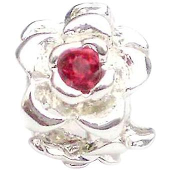TOC beadz Red Rose 9mm Kristall-Slide-on Bead