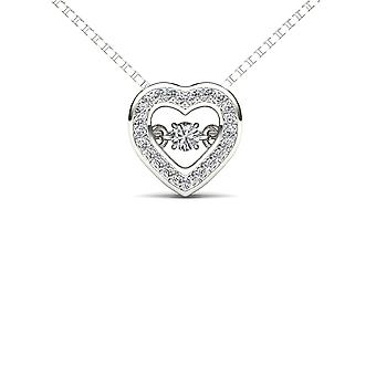 IGI Certified 10k White Gold 0.20 Ct Natural Diamond Heart Pendant Necklace