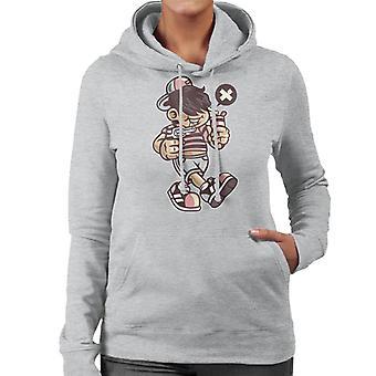 Bad Kid Cartoon Character Women's Hooded Sweatshirt