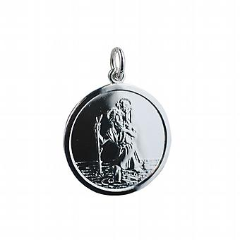 Silver 25mm round St Christopher Pendant with car boat train plane on back