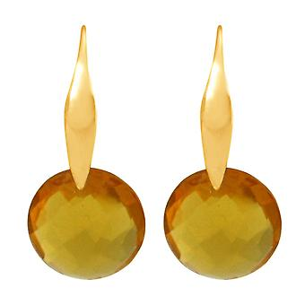 Gemshine Damen Ohrringe mit gelb goldenen Citrin Edelsteinen. Hochwertig vergoldete Ohrhänger - Nachhaltiger, qualitätsvoller Schmuck Made in Germany