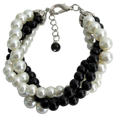 Black Ivory Pearl Bracelet Costume Wedding Jewelry 4 Strand Bracelet
