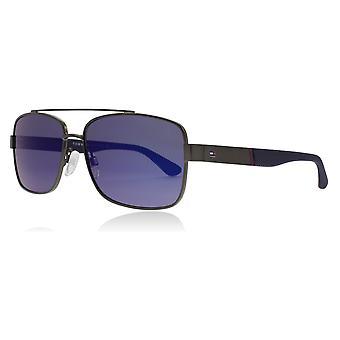 Tommy Hilfiger TH1521/S R80 Ruthenium dunkel TH1521/S Rechteck Sonnenbrille Objektiv Kategorie 3 Objektiv gespiegelt Größe 59mm