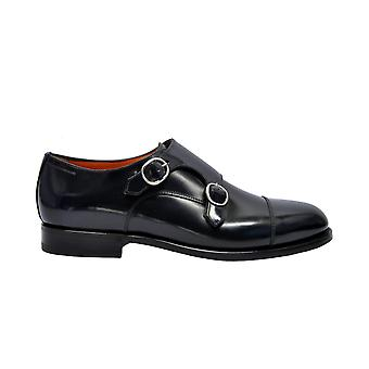 Santoni Black Leather Monk Strap Shoes