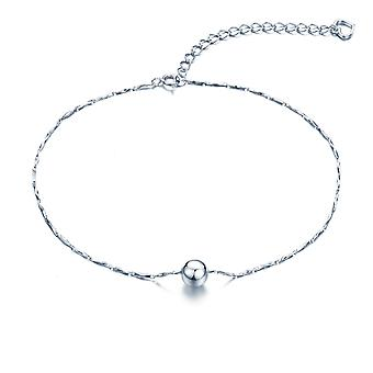 925 Sterling Silver Ball And Heart Charms V Chain Anklet