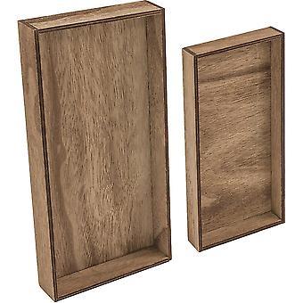 Idea-Ology Wooden Vignette Trays 2/Pkg-Brown 4.75