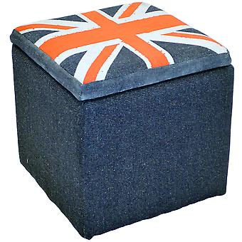 Union Jack - Square Flag Padded Storage Pouffe Stool - Blue / Red / Grey