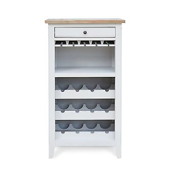 Signature Wine Rack & Glass Storage Cabinet Fits 12 Bottles & 20 Wine Glasses