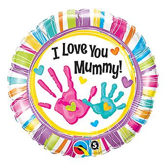 Qualatex I Love You Mummy Handprints Foil Balloon 18in